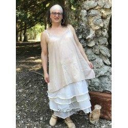 robe LEA coton rayé beige rosé