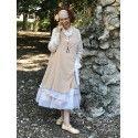 robe-veste FLORIE velours rose pêche et organza écru