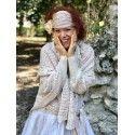 hand embroidered shawl ERMANCE pink beige crochet
