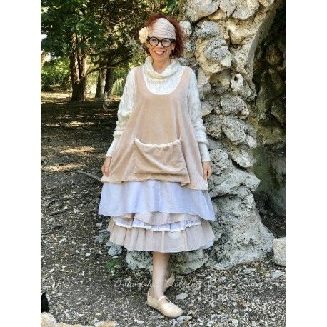 tunic CALYPSO peach pink velvet and ecru organza