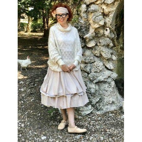 jupe jupon JENNYFER coton rayé rose et organza écru