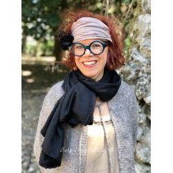 scarf PAULINE black twill