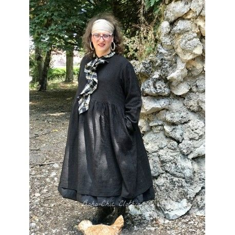 dress-coat POEMA black khadi cotton