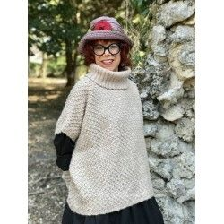 pull poncho à col roulé IRIS laine rose