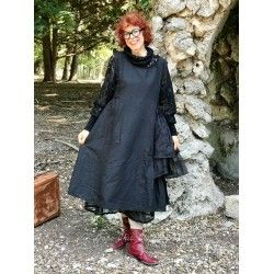 dress AGAPE black cotton, linen and organza