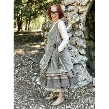 robe FLORIE velours olive