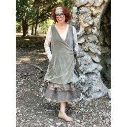 robe-veste FLORIE velours olive et organza chocolat