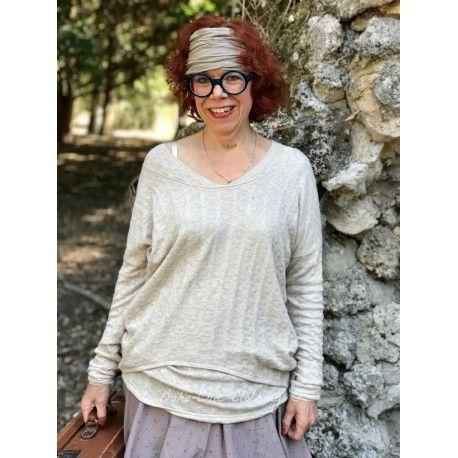 top long à col V LEO laine et coton beige