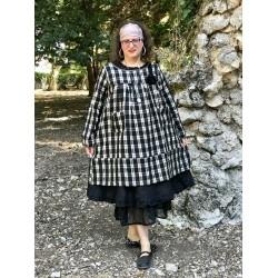 robe tunique ALAE coton et lin à carreaux noir et écru