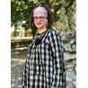 dress tunic ALAE black and ecru checkered cotton and linen