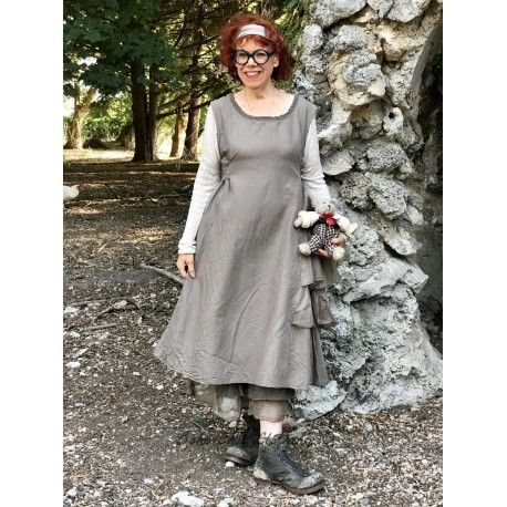 dress AGAPE chocolate cotton, linen and organza Les Ours - 1