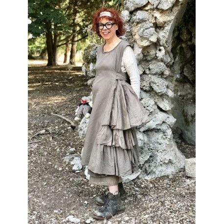 dress AGAPE chocolate cotton, linen and organza