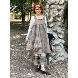 robe HEIOLI coton, lin et organza chocolat