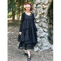 dress HEIOLI black cotton, linen and organza