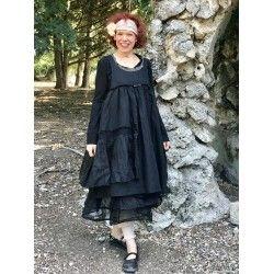 robe HEIOLI coton, lin et organza noir