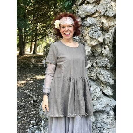 tunic CHARLIE chocolate cotton and linen with taupe tulle