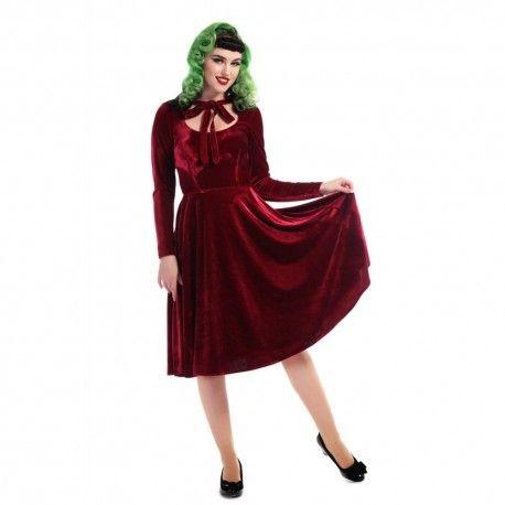 robe Clara Velvet Rouge bordeaux
