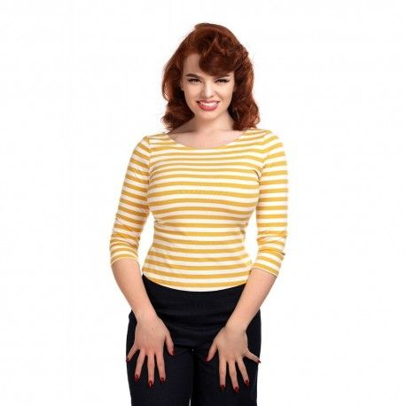 T-shirt Twinnie Rayé moutarde
