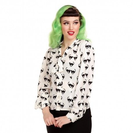 blouse Luiza Meooow White printed black cats