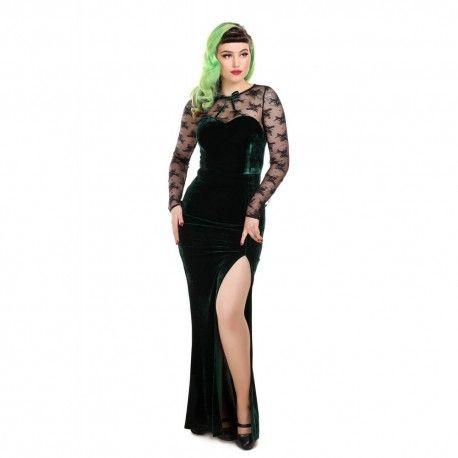 robe longue Celine dentelle et velours vert émeraude