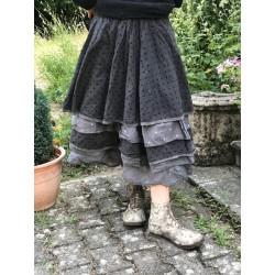 jupe / jupon MADELEINE coton gris à gros pois noirs et organza uni noir