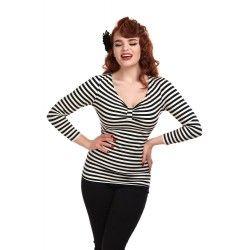 T-shirt Saskia Rayé noir et blanc