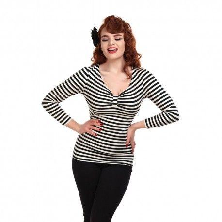 T-shirt Saskia Rayé noir et blanc Collectif - 1