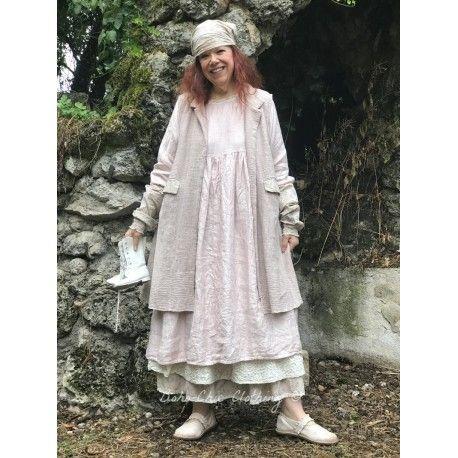 veste sans manches réversible MARIE coton khadi rose avec intérieur fleurs