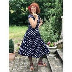 robe Dolores Bleu foncée à pois blancs