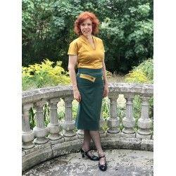 skirt Eszter Emerald / Mustard