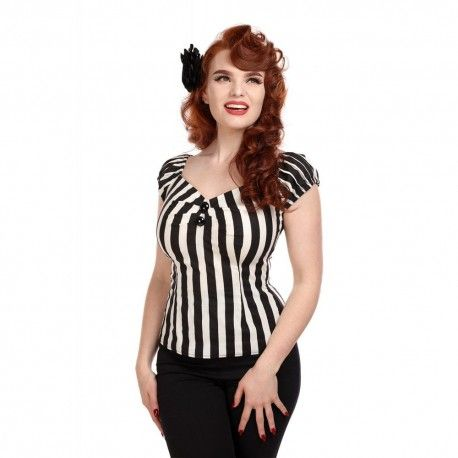 top Dolores Black and White striped