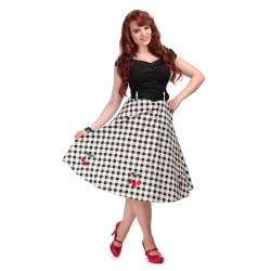 skirt Cherry Black and White Gingham