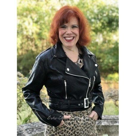 jacket Lana Biker Black Collectif - 1