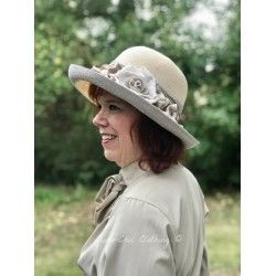 hat EULALIA in cream and grey hemp