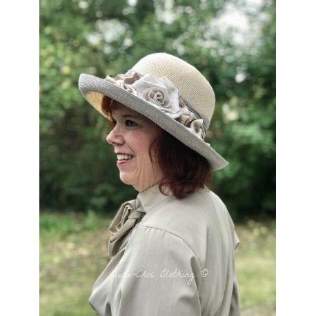 chapeau EULALIA en chanvre crème et gris