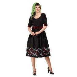 dress Junnie Dark Roses Flock