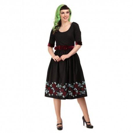 robe Junnie Dark Roses Flock