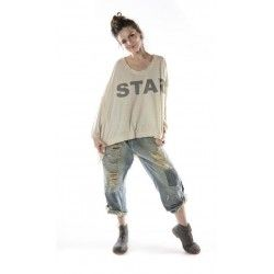 pullover Oversized Bold Star Hi Lo Francis in Moonlight