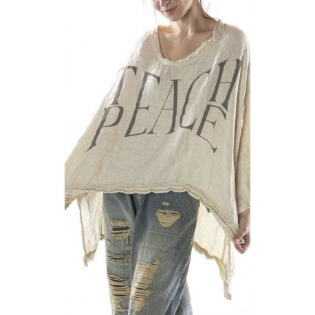 pullover Oversized Teach Peace Hi Lo Francis in Moonlight