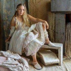 robe GINETTE crochet rose, gaze de lin et organza écru