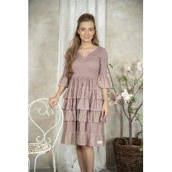 dress Nanna in Delightful plum cotton Jeanne d'Arc Living - 1