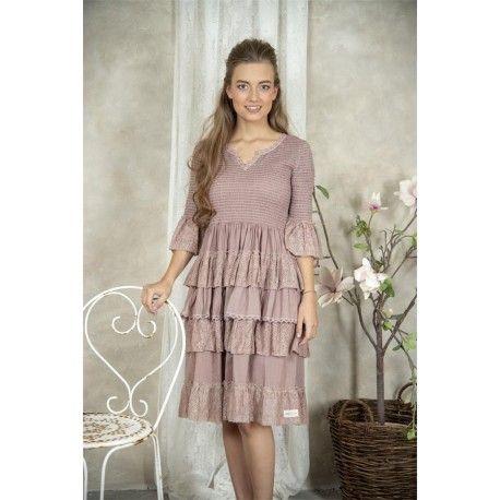 dress Nanna in Delightful plum cotton