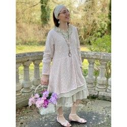 long jacket POUPI pink woolen