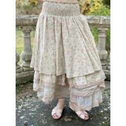 skirt petticoat LIE pink flowers cotton and ecru organza