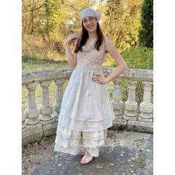 robe PIA crochet rose et organza écru
