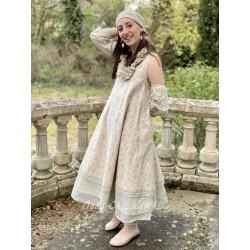 robe ANTOINETTE flex fleurs roses et organza écru