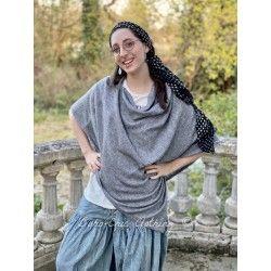 Vneck shawl Handmade Cashmere in Gray