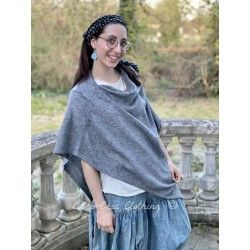 poncho Handmade Cashmere in Gray
