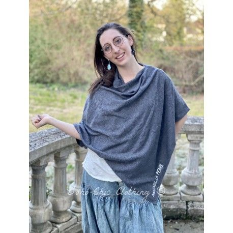 Vneck shawl Handmade Cashmere in Dark Gray