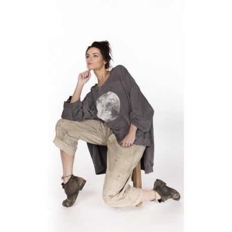 pull Oversized Moon Hi Lo Francis in Ozzy Magnolia Pearl - 2